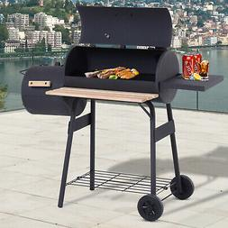 "48"" Steel Portable Backyard Charcoal BBQ Grill and Offset Sm"