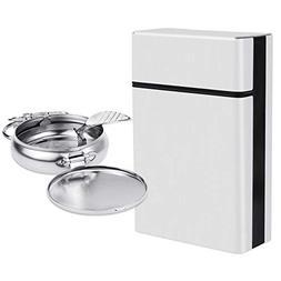 Hysagtek Aluminum Cigarette Case Hard Box Holder and Mini Po