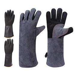 GEEKHOM BBQ Gloves 16 inch Long 932°F Heat Resistant Leathe
