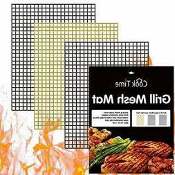 BBQ Grill Mesh Mat Set of 3 - Non Stick Barbecue Grill Sheet
