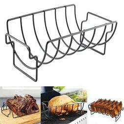 BBQ Rib Rack Grill Vegetable Smoker Basket Chicken Holder Ca