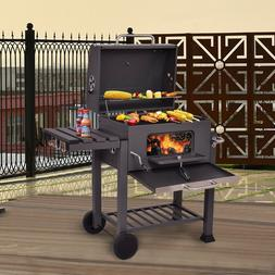Charcoal BBQ Grill Patio Barbecue Outdoor Cooking Smoker Adj