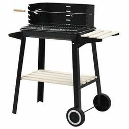 vidaXL Charcoal BBQ Stand with Wheels Black Steel Wood Grill