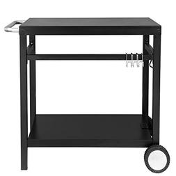 Royal Gourmet Double-Shelf Movable Dining Cart Table,Commerc