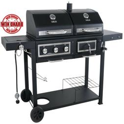 Dual Charcoal Gas Grill Combination Outdoor BBQ Burger, Hot