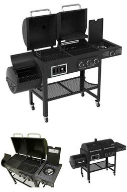 Gas Charcoal Grill Combo Outdoor BBQ Smoker Set w/ Side Burn