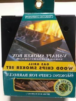 Gas Grill Wood Chips Smoker Set V Shape Smoker Box Charcoal