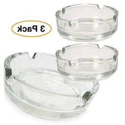 Premium Glass Ashtray  Clear, Classy Round Durable & Thick
