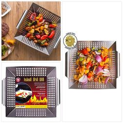Grill Basket Wok Topper Pan Smoker for Grilling Barbecue Veg