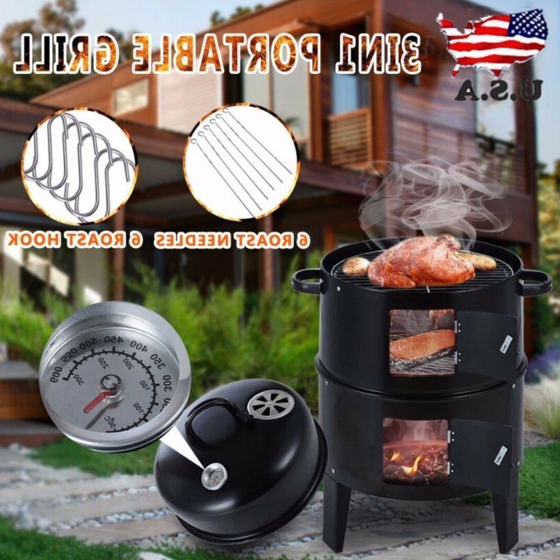 3 Charcoal Vertical Roaster Barbecue Cooker Outdoor