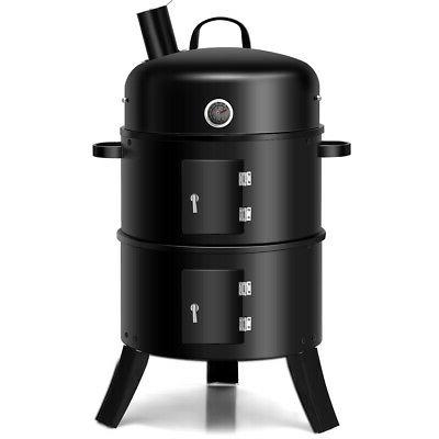 3 in 1 Portable Charcoal Smoker Vertical BBQ Grill Built-in