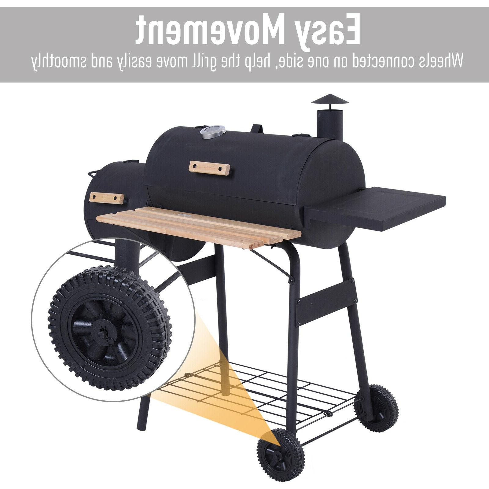 Outsunny Steel Backyard Charcoal Grill and Smoker Combo