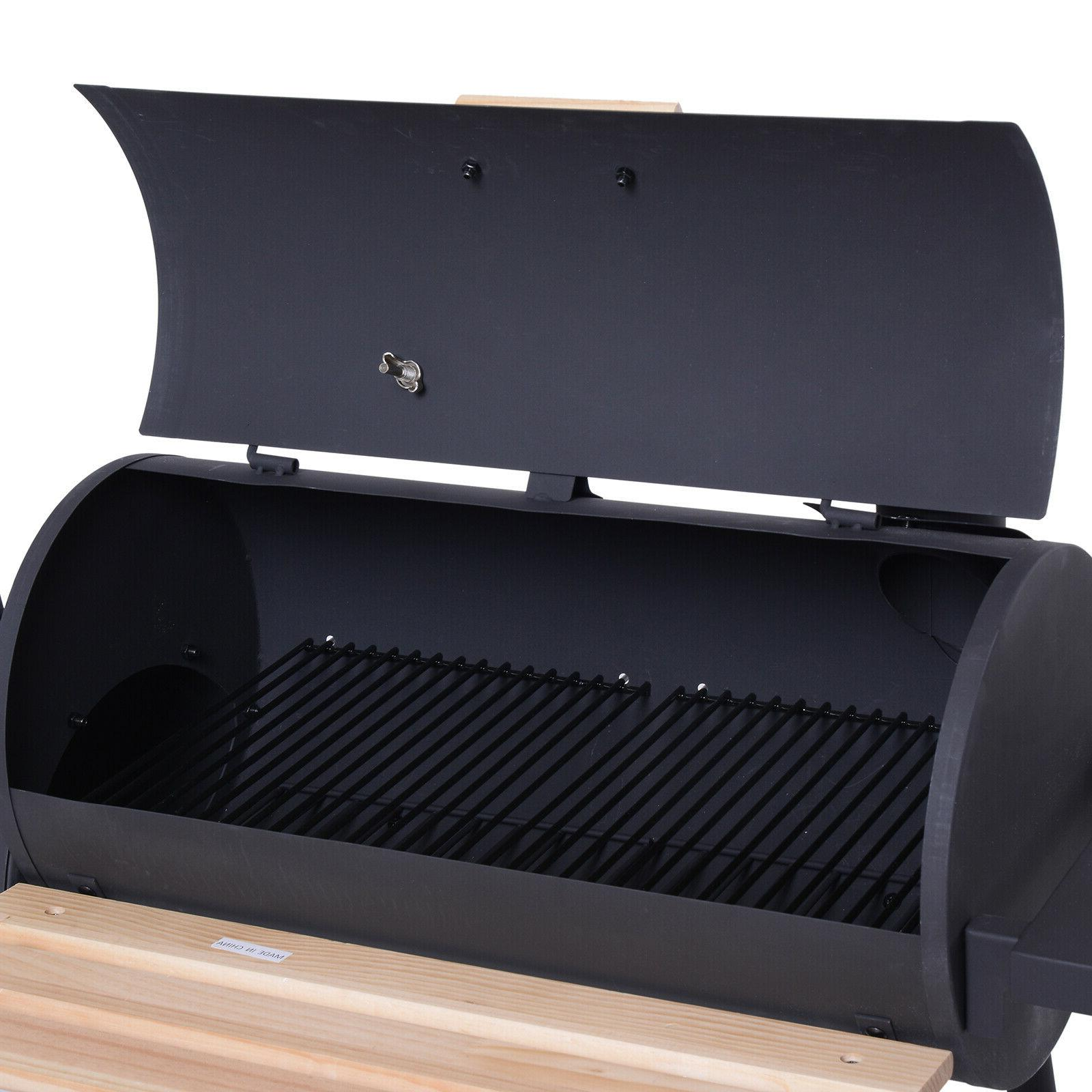Outsunny Backyard Charcoal Grill and Offset Combo