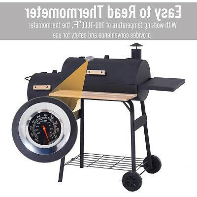 Outsunny Backyard Charcoal BBQ and Offset Smoker