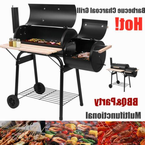 barbecue charcoal grill and 2 wheels smoker