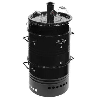 Vertical Charcoal Smoker BBQ Barbecue Grill Pizza Oven w/ Bu