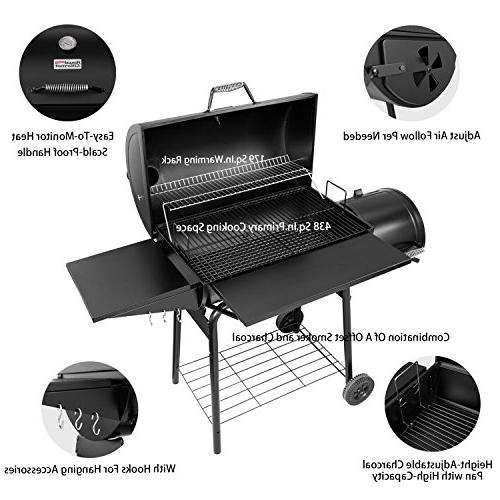 Royal Gourmet Charcoal Grill and Offset 30'' L, 800 Inch, Black