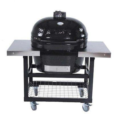 ceramic charcoal smoker grill on cart