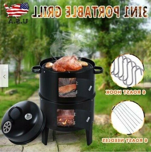 Charcoal Water Smoker Grill Outdoor BBQ Barbecue Cooker Back