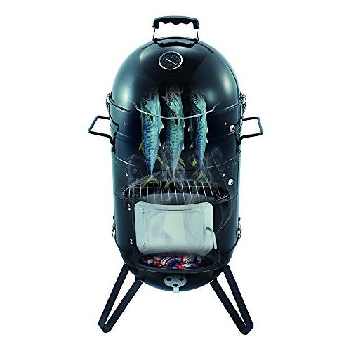 Sougem Charcoal 14-inch Vertical Smoker with Cover, Black