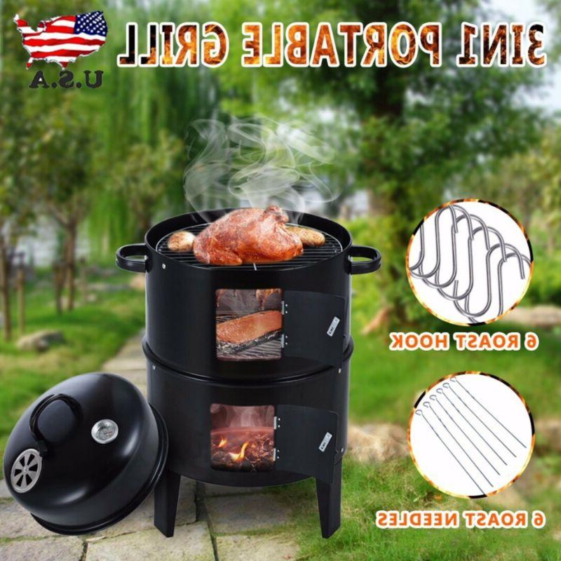 3 in 1 charcoal vertical smoker grill