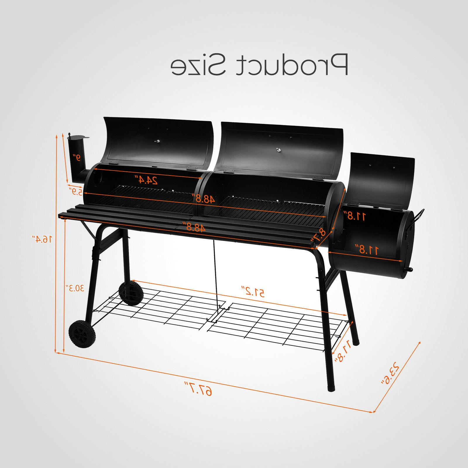"68"" Outdoor BBQ Grill Charcoal Patio Backyard Meat Smoker"