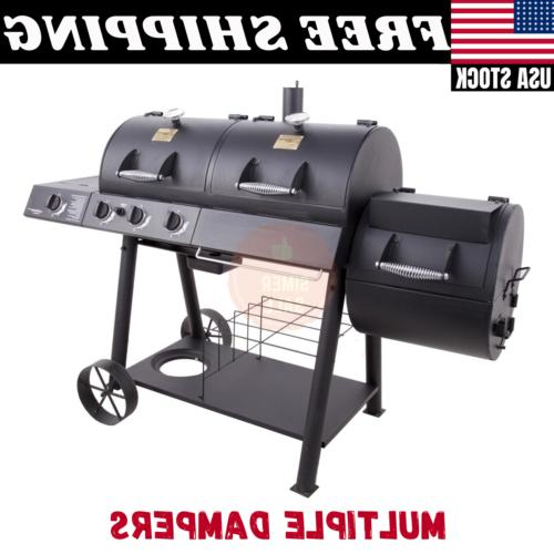 gas and charcoal combo grill w smoker