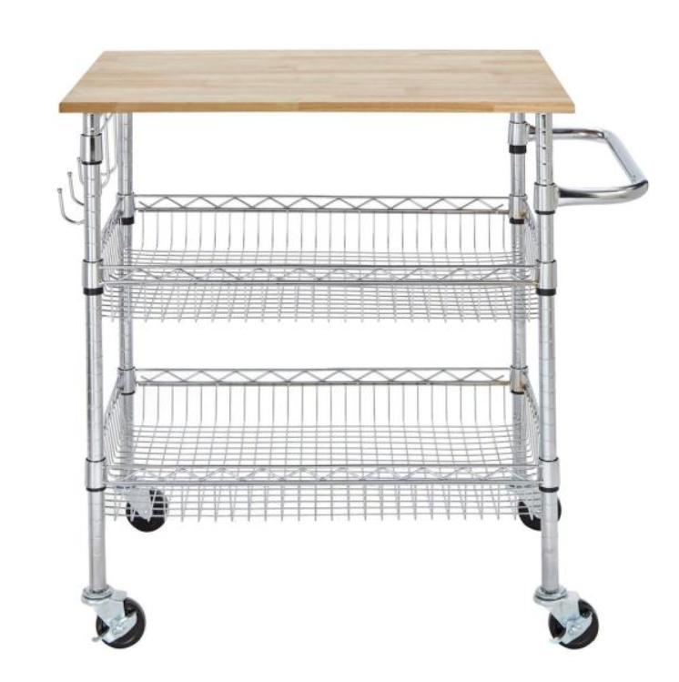 gatefield chrome kitchen cart with natural wood