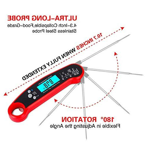 Instant Read Meat Thermometer, Waterproof Ultra Fast Digital