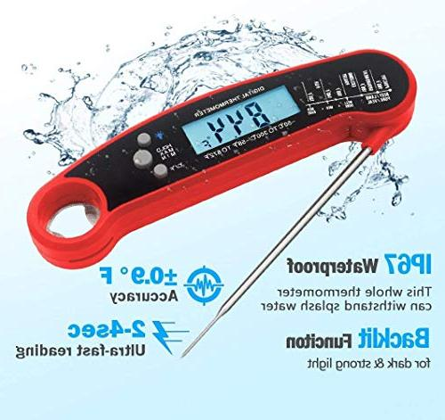 Instant Thermometer, Waterproof Food Thermometer with Collapsible Probe, & BBQ Grill Smoker