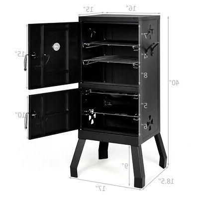 Vertical Charcoal Smoker BBQ Barbecue Grill w/ Temperature Gauge Black