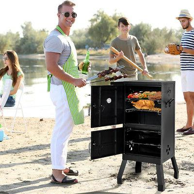Vertical Barbecue Grill Gauge Outdoor Black