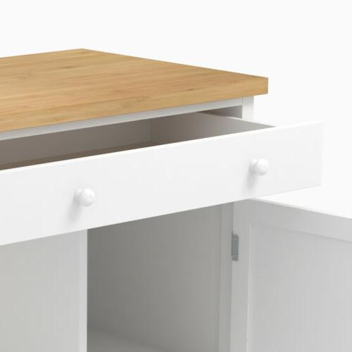 Wheeled Wood with Storage Drawer & & Cabinet