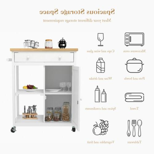 Wheeled Kitchen Trolley Wood Top Drawer & Shelves Cabinet