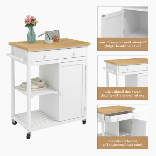 Wheeled Wood Top with Drawer & Shelves Cabinet