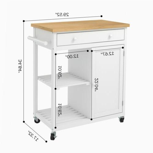 Wheeled Trolley Cart Wood Top Drawer & Shelves Cabinet