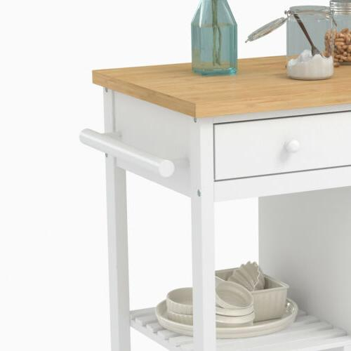 Wheeled Trolley Cart Wood with Storage Drawer Shelves & Cabinet