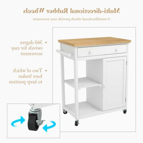 Wheeled Kitchen Trolley Wood with Cabinet