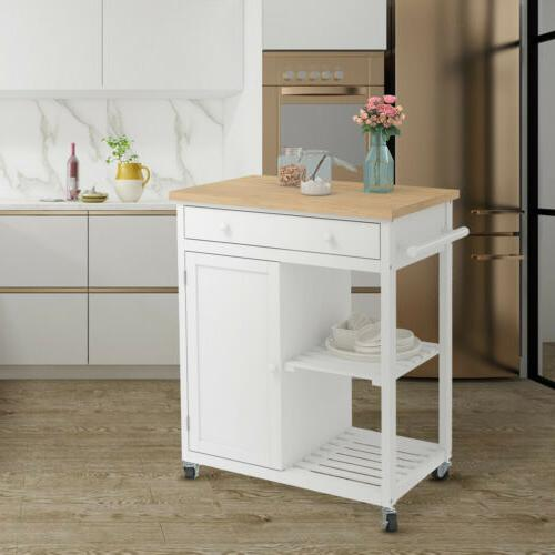 wheeled kitchen trolley cart wood top
