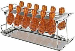 12-Slot Leg Wing Grill Rack Poultry BBQ Bar-B-Q Barbeque Gri