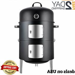 Meat smoker 17 Inch Steel Charcoal Smoker BBQ Grill for Outd