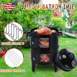 New Portable Charcoal Vertical Smoker Grill BBQ Roaster Stee