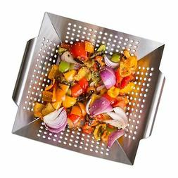 Nonstick Stainless Steel Vegetable Grill Basket WOK for BBQ