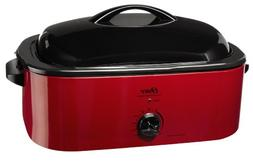 Oster CKSTROSMK18 Smoker Roaster Oven, 16-Quart, Red