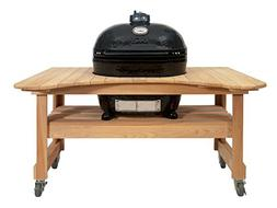 Primo Oval XL 400 Ceramic Smoker Grill On Curved Cypress Tab