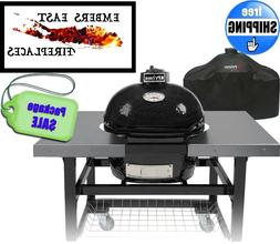 Primo Oval JR 200 BBQ Smoker Grill Bake Lump Coal Table & Ac