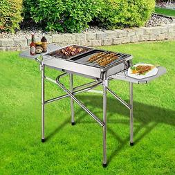 "27"" Portable BBQ Grill Kebab Barbecue Charcoal Stainless Ste"