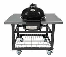 Primo Oval JR 200 Ceramic Smoker Grill On Cart with SS Side