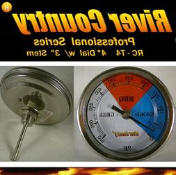 """4"""" RCT4 BBQ CHARCOAL GAS ELECTRIC GRILL SMOKER PIT THERMOMET"""
