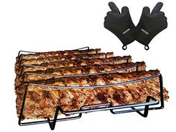 SparkIt Rib Rack for Smoking and Grilling - Non Stick 5 Slot